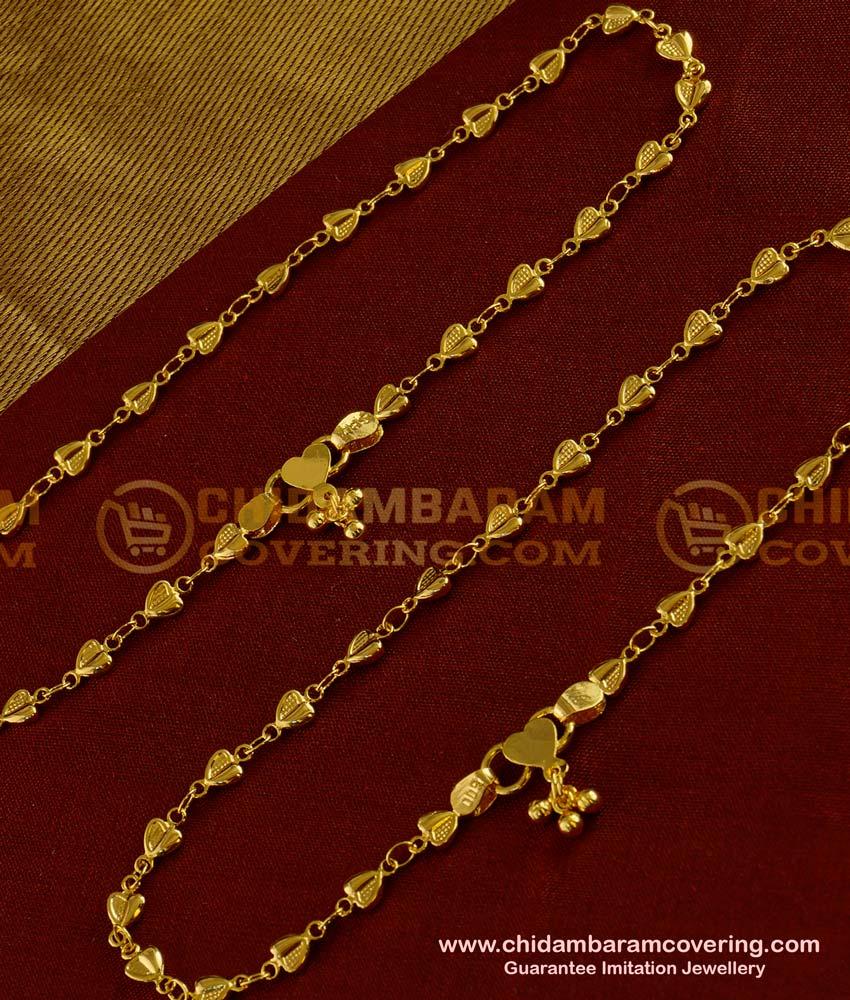 ANK001 - 1 Gm Gold Plated Heart Shape Design Anklet Kolusu Designs Online