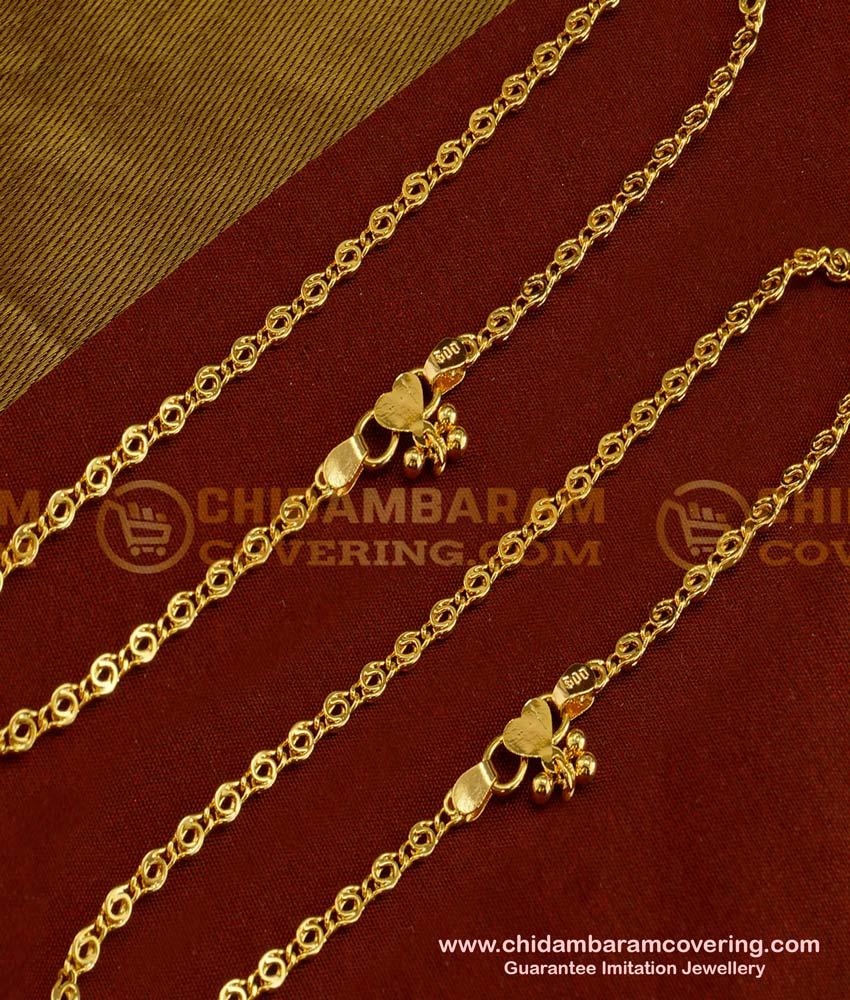 ANK011 - Beautiful One Gram Gold Guarantee Thin Payal Design for Girls