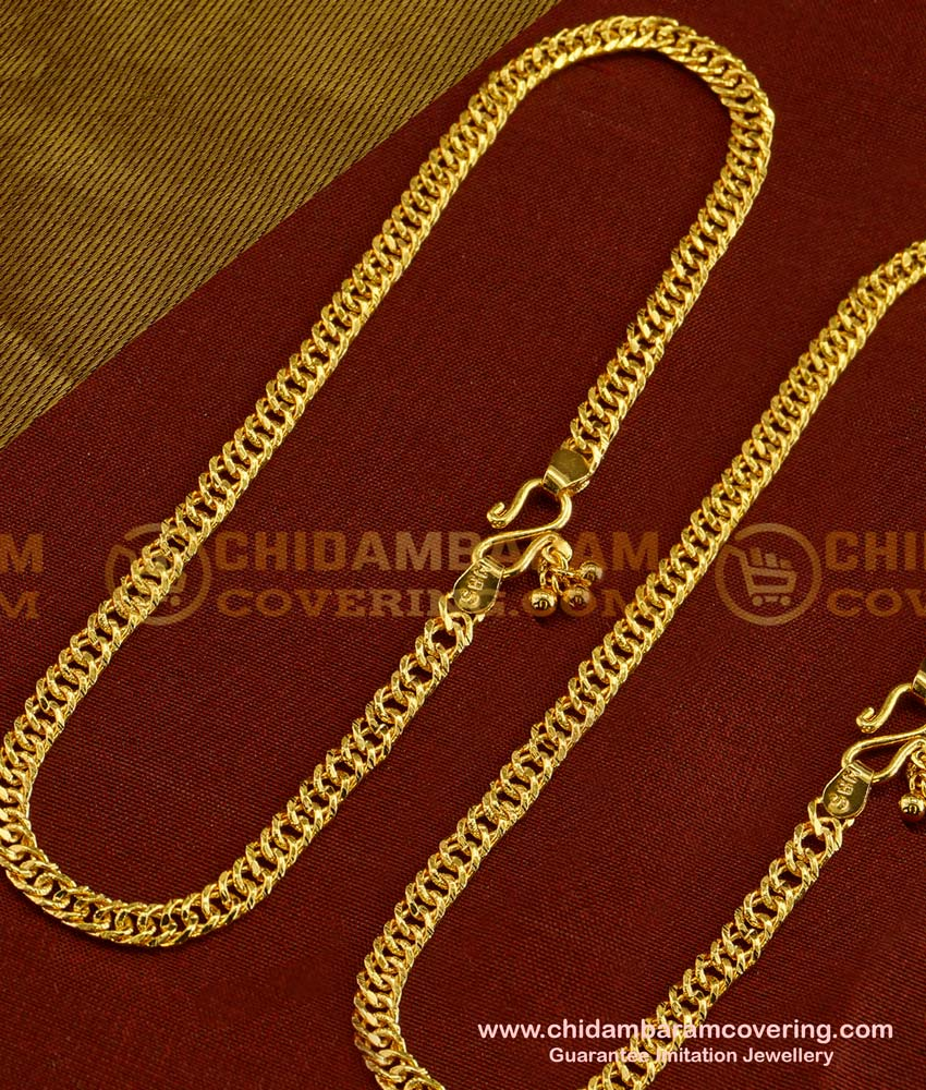 ANK014 - Bridal Wear Gold Flexible Chain Anklet Padasaram Design Buy Online