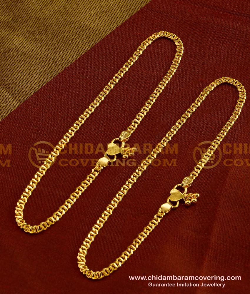 ANK016 - Stylish Gold Plated Flexible Link Chain Anklet Design Buy Online