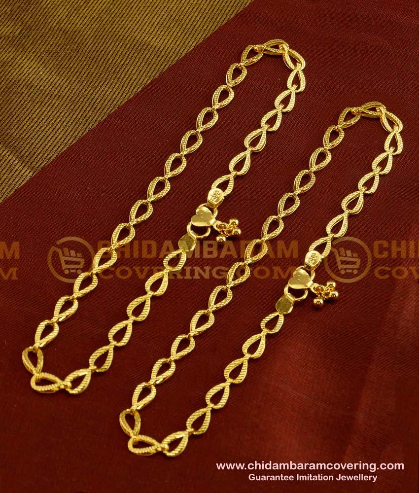 ANK019 - Most Beautiful One Gram Gold Designer Anklet Design for Girls