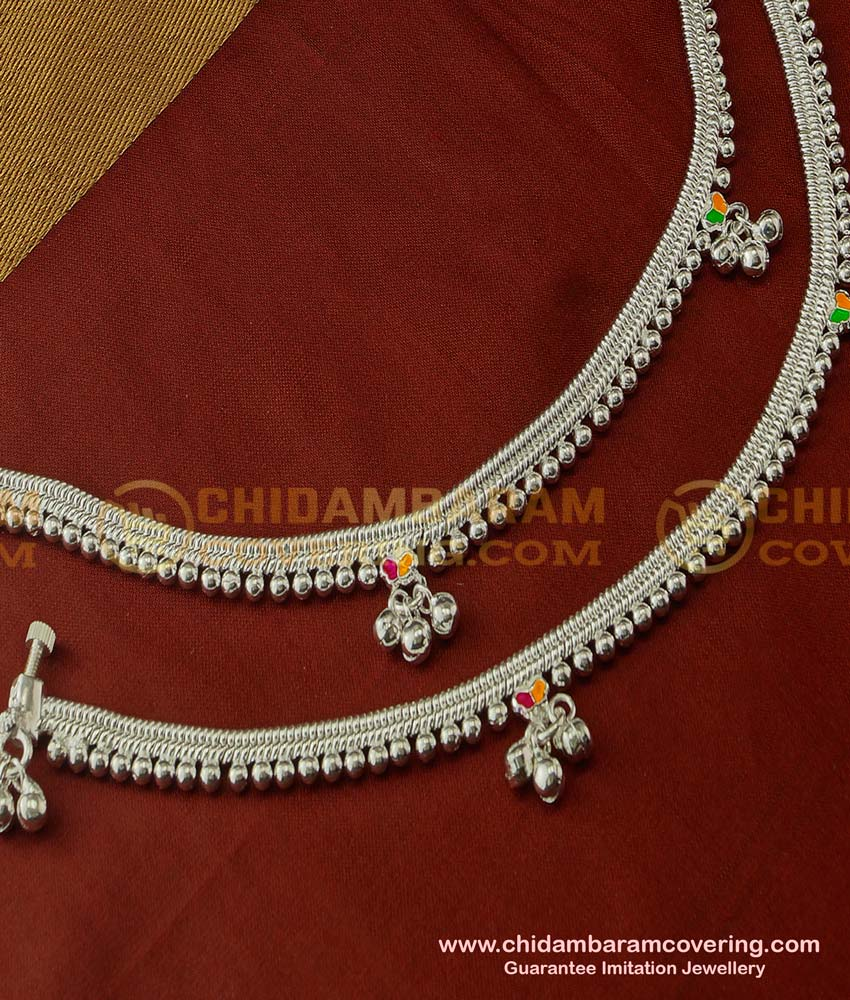 ANK028 - Traditional Artificial Silver Plated White Metal Heavy Beads Enamel Design Anklets for Girls