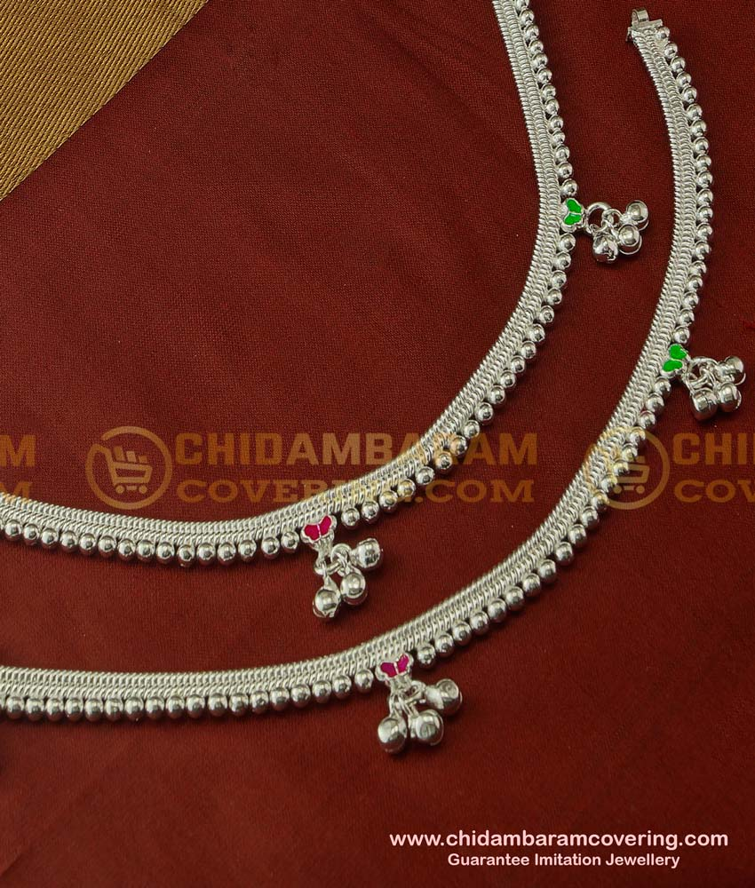 ANK030 - White Metal Heavy Beads Enamel Design Payal Buy Indian Artificial Jewellery Online