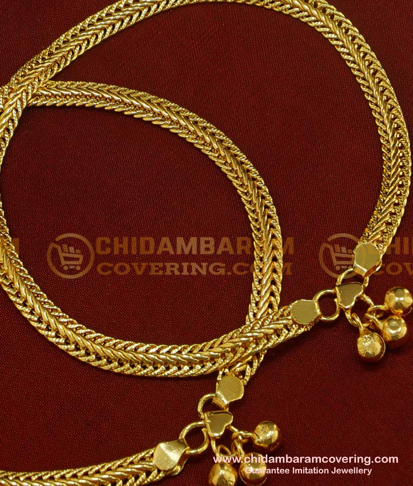 ANK034 - One Gram Gold Plated Flexible Chain Anklet Padasaram Design Buy Online