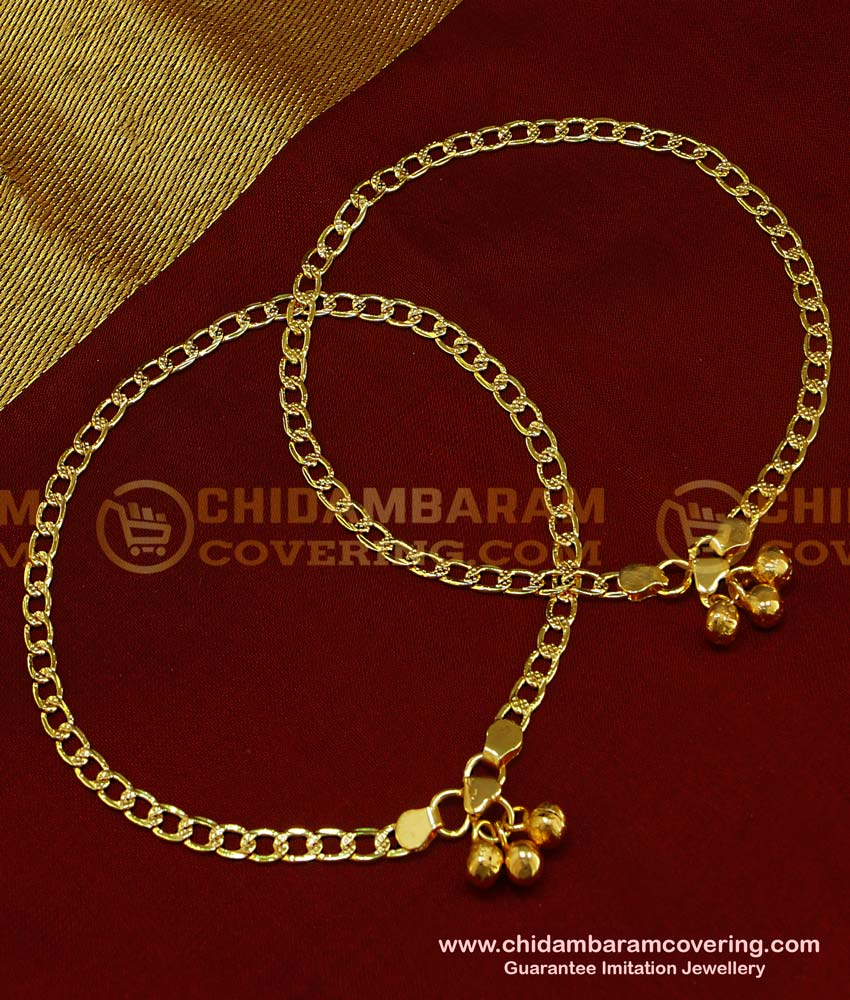 ANK039 - South Indian Gold Plated Guaranteed Anklet Kolusu Design For Women