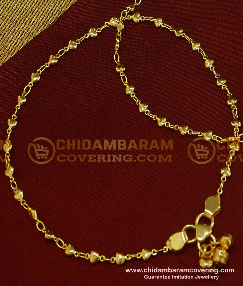 ANK041 - New Payal Heart Design Chidambaram Covering Anklet Collection Online