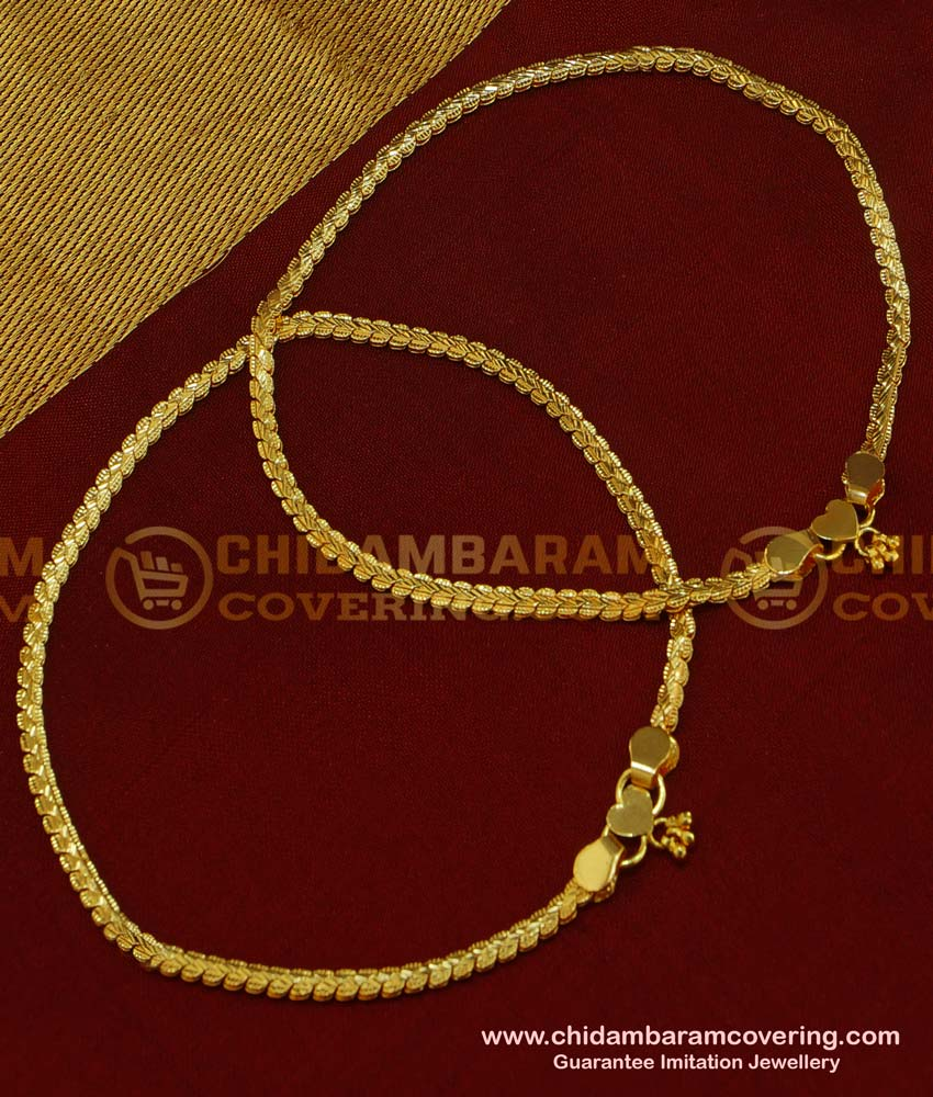 ANK043 - Gold Design Light Weight Daily Wear Anklet Design Best Payal Design Online