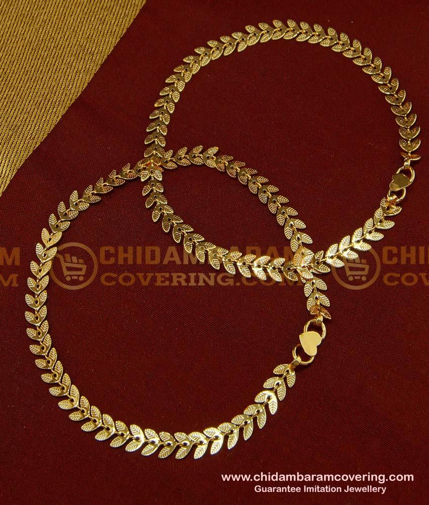 ANK051 - 11 Inch Trendy Light Weight Double Leaf Design Gold Anklet Kolusu Design for Girls