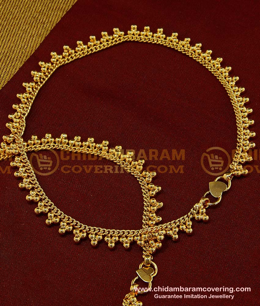ANK053 - 11 Inch Real Gold Design Anklet Golden Beads Gold Plated Covering Payal Online Shopping