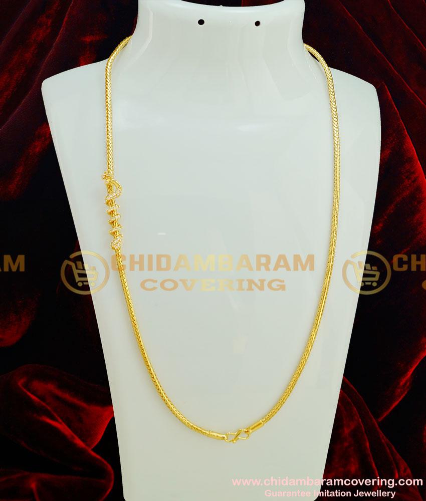MCHN151 - Trendy Gold Plated Thali Kodi Chain Peacock AD Spiral Design Mugappu Chain Indian Imitation Jewellery