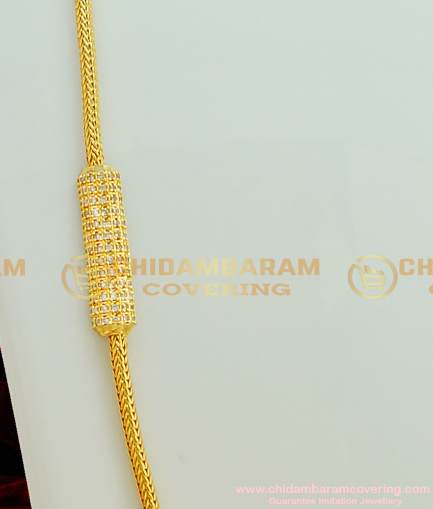 MCHN152 - American Diamond Designer Mugappu Side Stone Pendant Thali Kodi Mugappu Chain