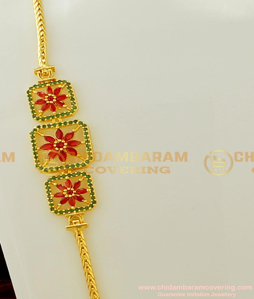 MCHN153 - Latest Daily Wear Ruby Emerald Flower Design Side Mugappu Chain for Women