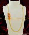 MCHN154 - Gold Design Big Ruby Stone Mugappu Roll Thali Kodi Mugappu Chain Latest Jewellery