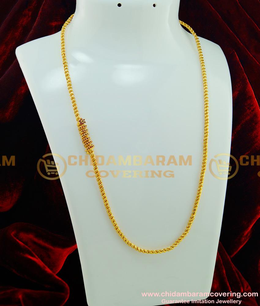 MCHN189 - Beautiful Ruby Stone Spiral Model Mugappu Chain Designs for Women