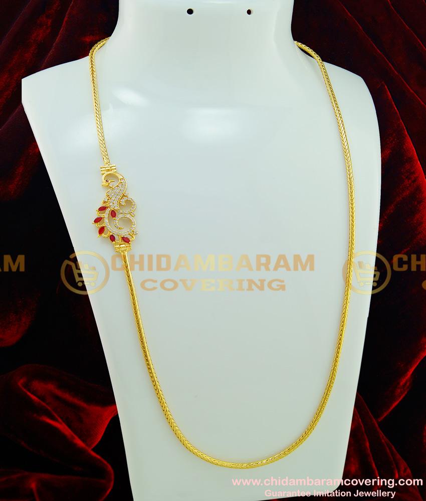 MCHN193 - Unique Peacock Design AD Mugappu with Gold Plated Thali Kodi Chain