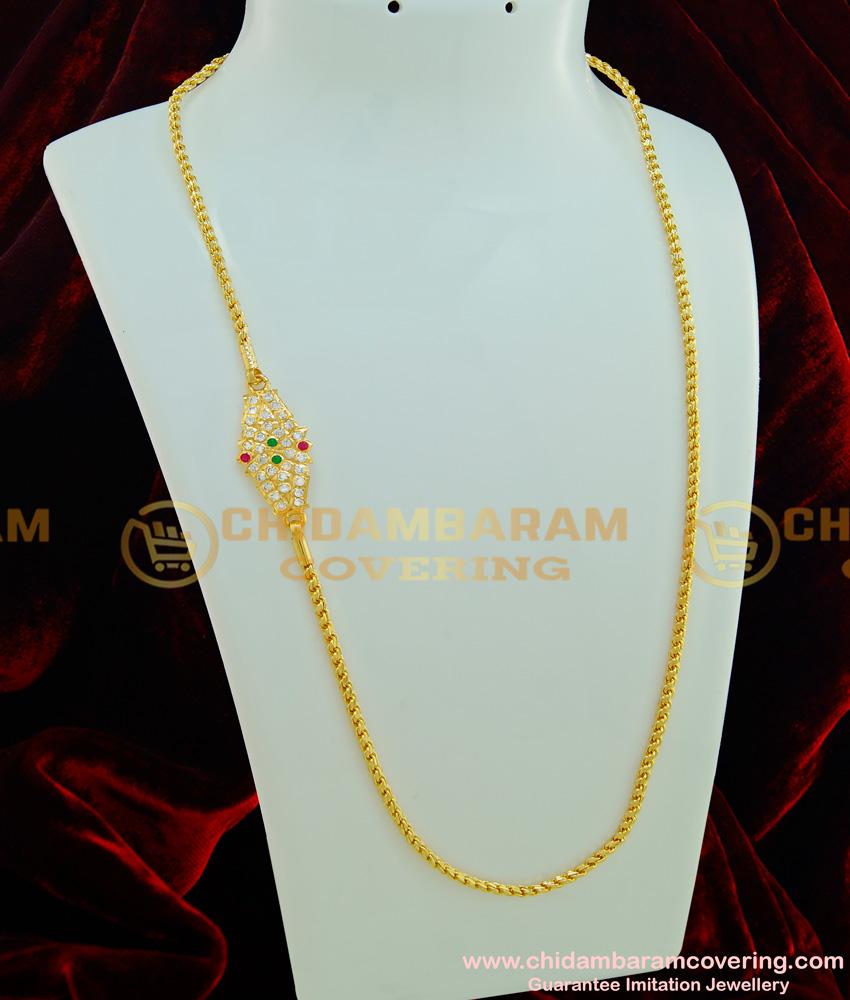 MCHN216 - Five Metal Mugappu Chain Multi Stone Side Locket with Single Thali Saradu Chain Designs