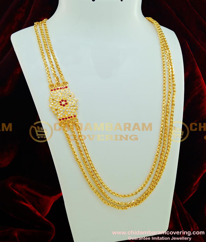 MCHN227 - Latest First Quality Five Metal Ad Mugappu Three Layer Gold Chain Buy Online