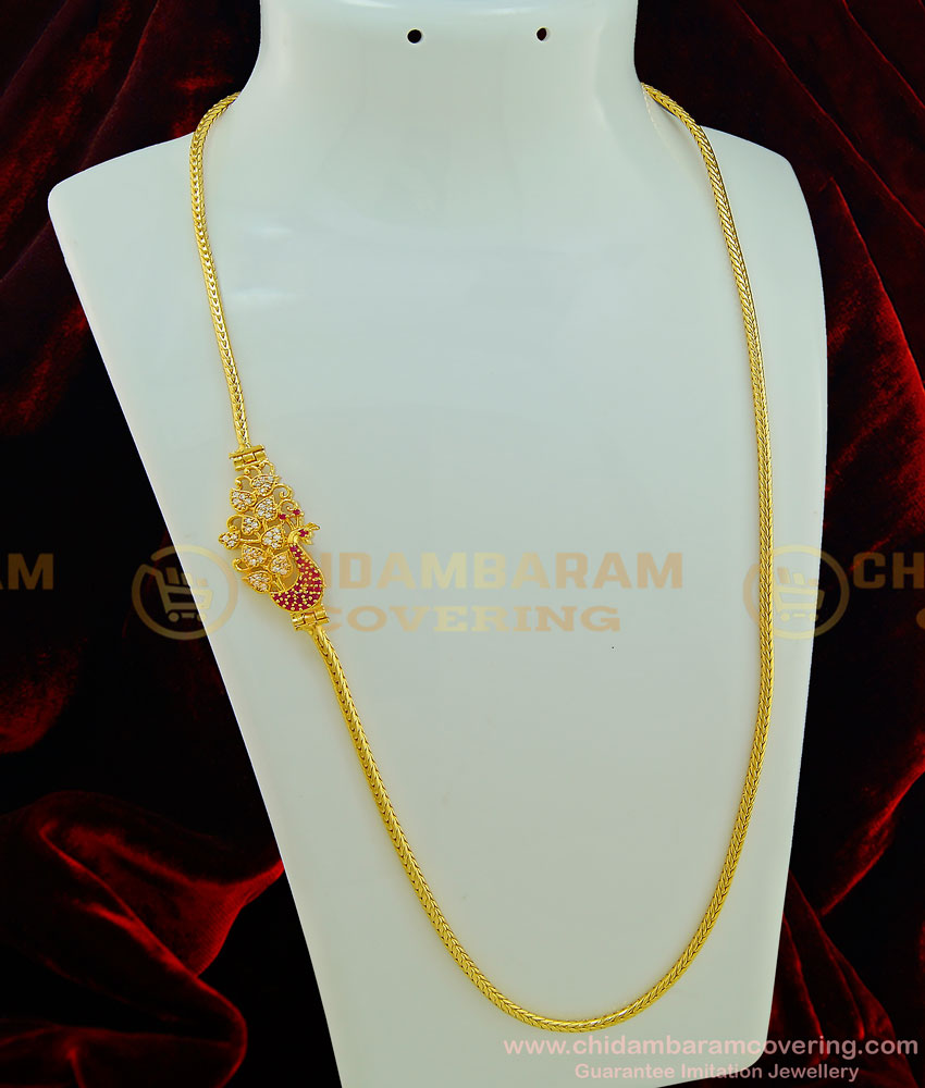 MCHN231 - Latest Daily Wear White and Ruby Peacock Design Side Mugappu Chain for Women