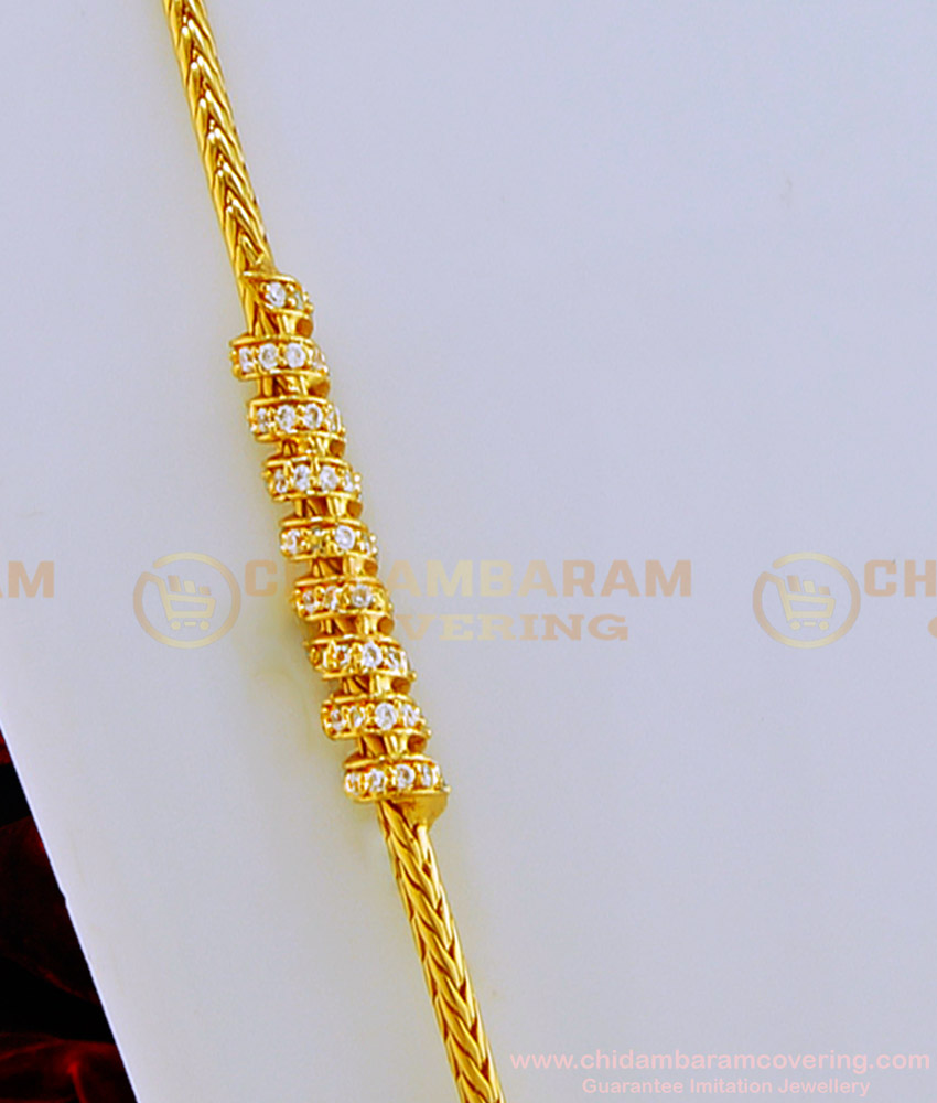 MCHN270 - Trendy Gold Plated Thali Kodi Chain Ad Spiral Design Mugappu Chain Indian Imitation Jewellery
