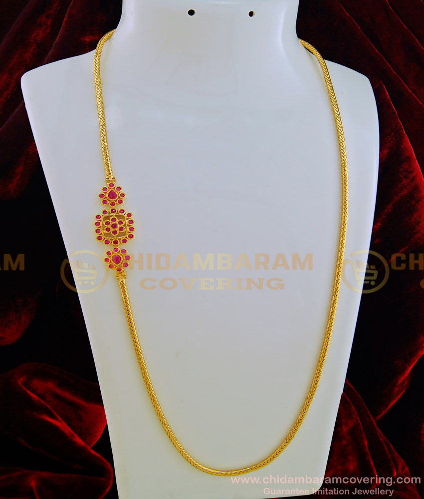 MCHN272 - New Design Pink Colour Kemp Stone Mugappu Thali Kodi Chain Collections