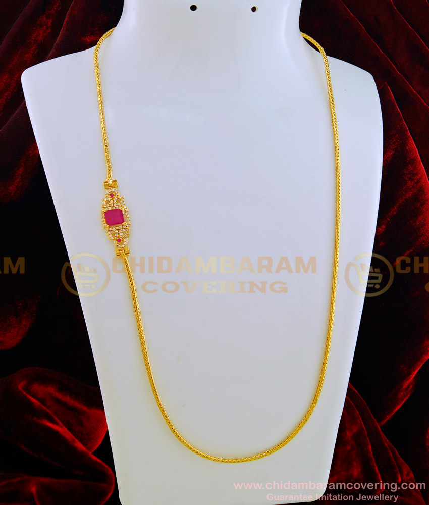 MCHN275 - One Gram Gold American Diamond Stone Side Pendant Light Weight Gold Mugappu Designs