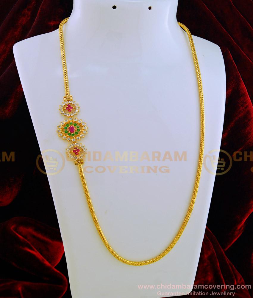 MCHN276 - New Model Ad Multi Stone Gold Mugappu Thali Chain Designs One Gram Gold Plated Jewellery