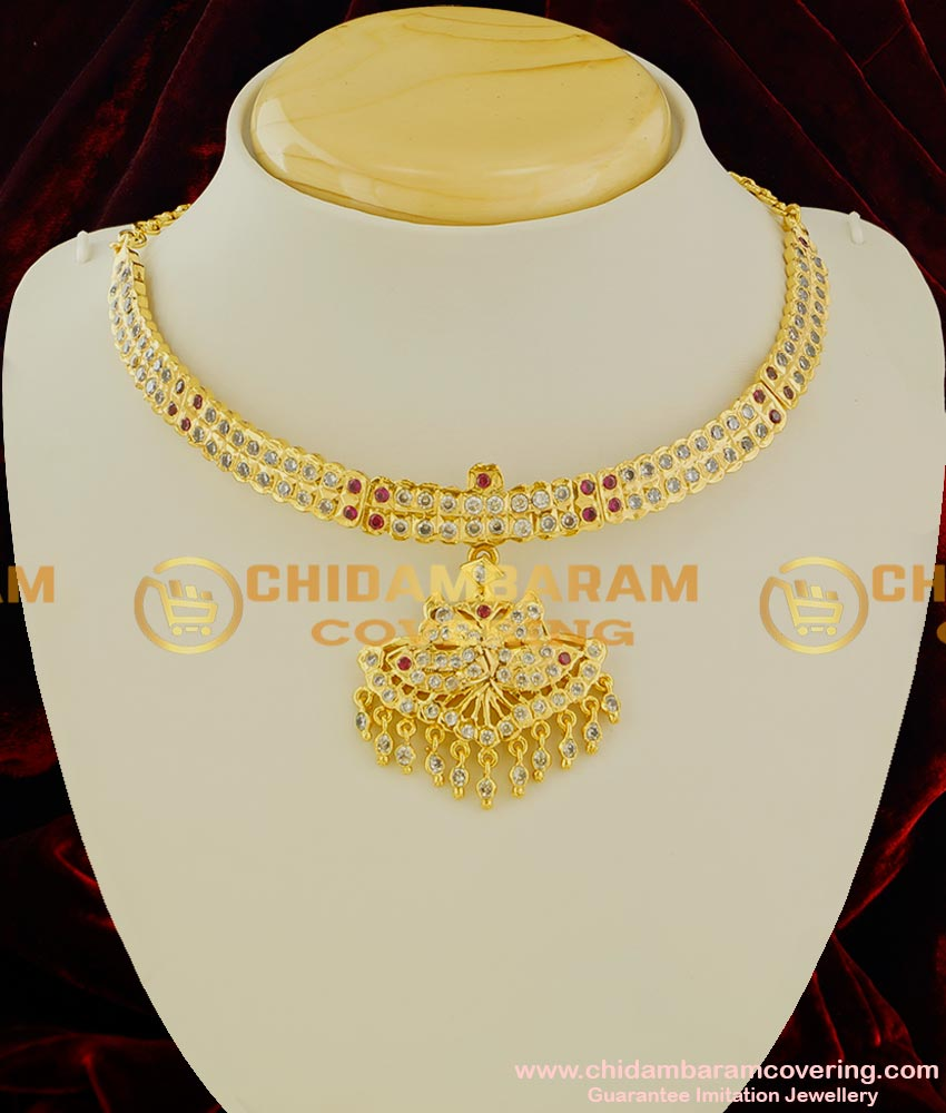 NLC025 - White AD Stones Handmade South Indian Impon Attigai Gold Plated Imitation Jewelry Online