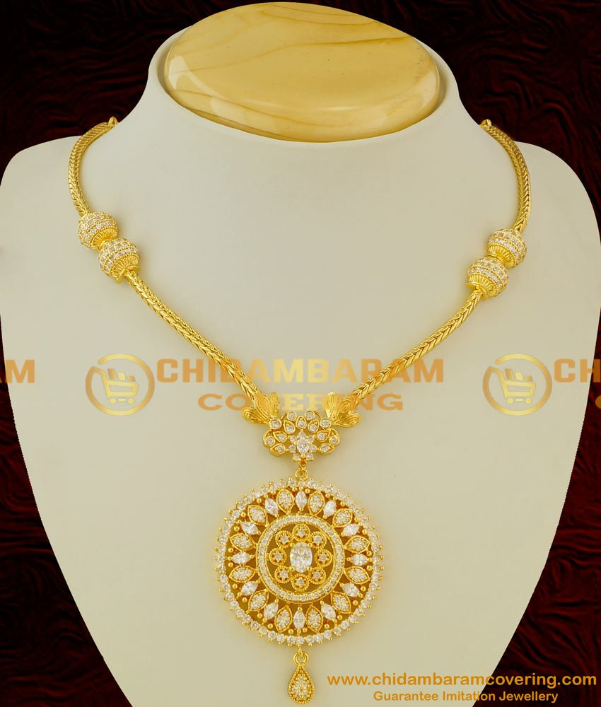 NLC050 - Real Diamond Finish AD White Stone Necklace Onam Special Collection Buy Online