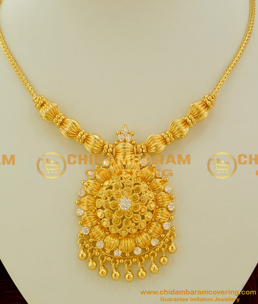 NLC084 - Latest Trending White Stone Flower Pendant with Hanging Golden Beads and Roll Kodi Chain