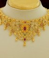 NLC259 - Uncut Diamond Style Choker Necklace with Earrings Set One Gram Gold Choker Necklace Buy Online