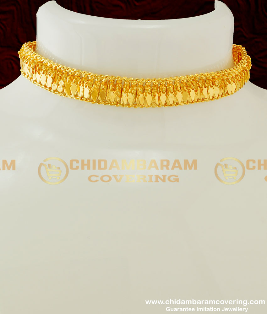 NLC315 - Kerala Gold Inspired Single Line Elakkathali Choker Necklace Bridal Jewelry Online