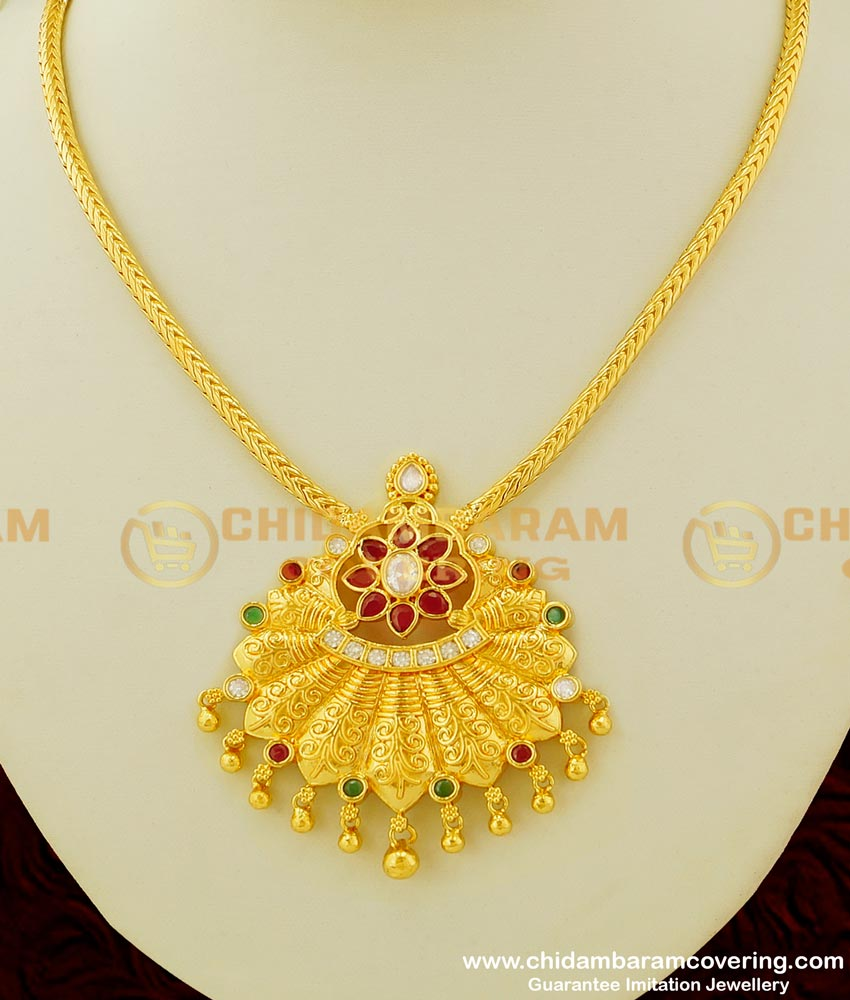 NLC344 - Latest Collection Chidambaram Covering Multi Stone Big Pendant with Roll Chain Necklace