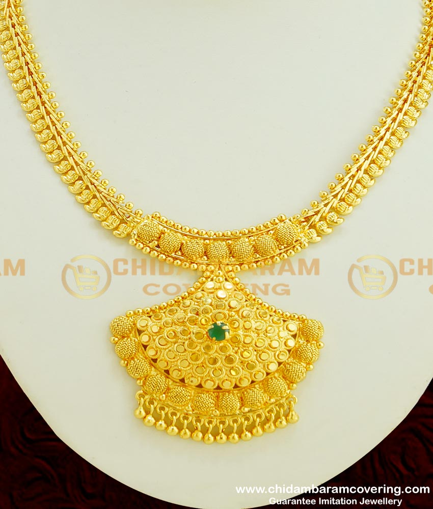 NLC351 - Bridal Wear Emerald Stone Necklace 2 Gram Gold Jewellery Online