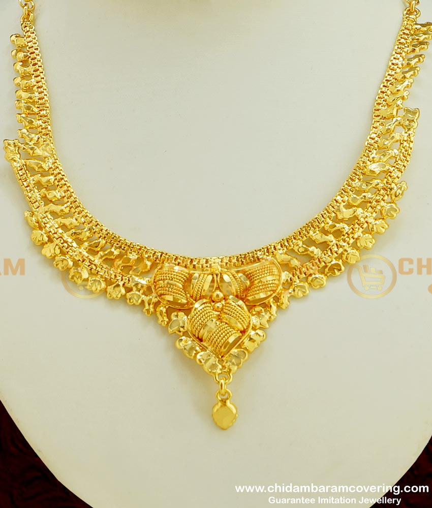 NLC354 - Traditional Indian Wedding Chidambaram Covering Necklace Design Imitation Jewellery
