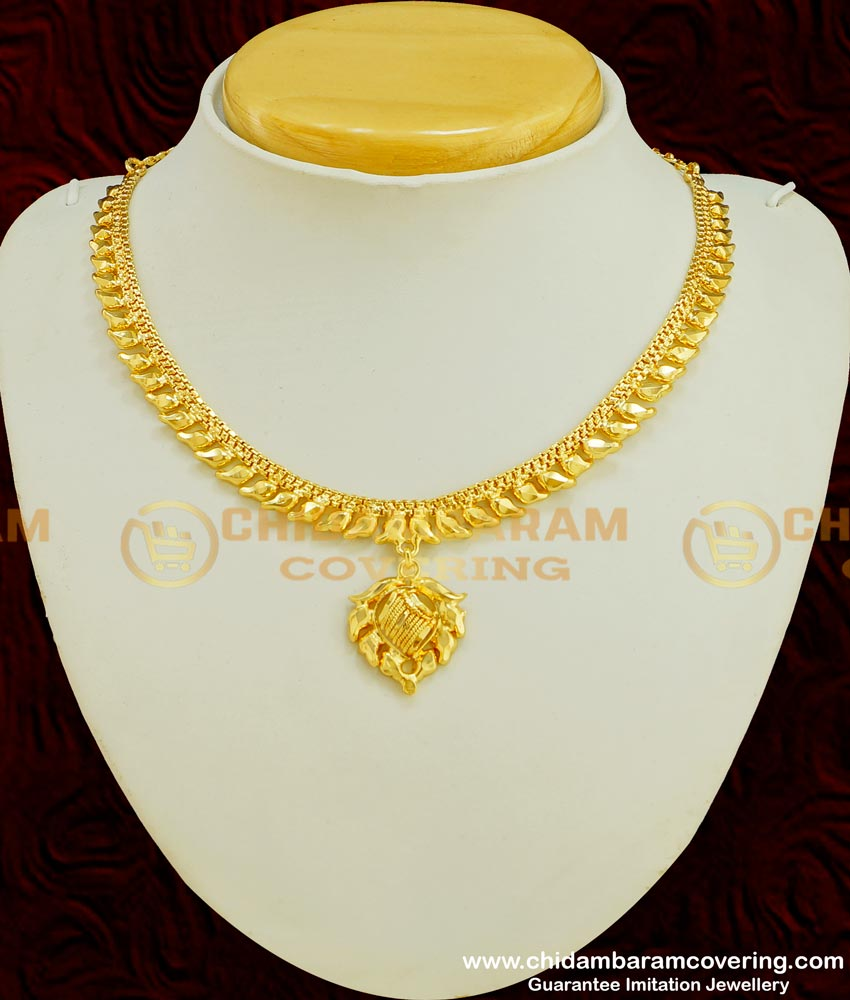 NLC356 - Traditional Simple Design 2 Gram Gold Plated Necklace for Girls