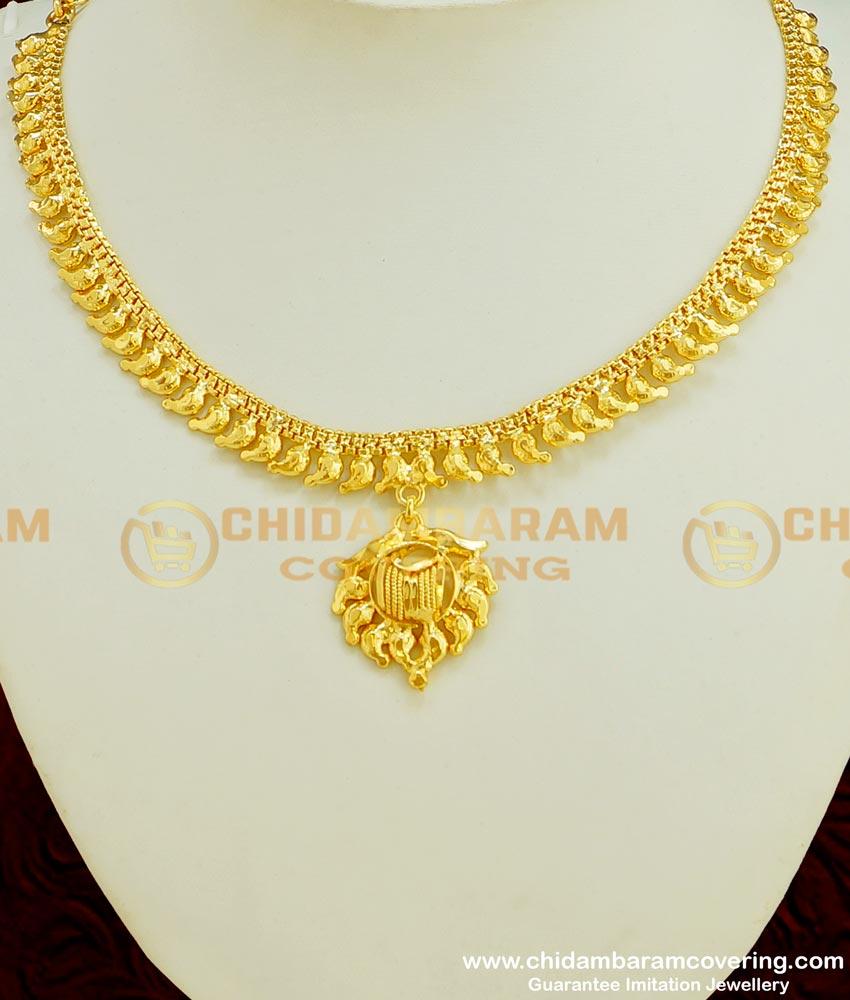 NLC357 - Simple Party Wear 2 Gram Gold Guarantee Plain Necklace Online