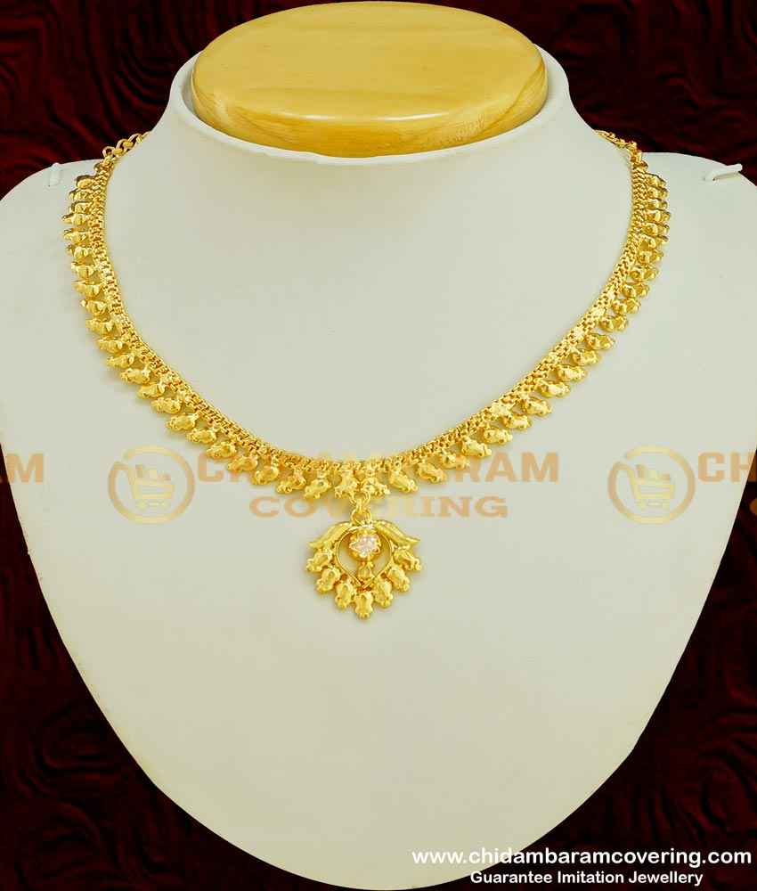 NLC358 - Latest Light Weight Simple Design Chidambaram Covering Stone Necklace Online