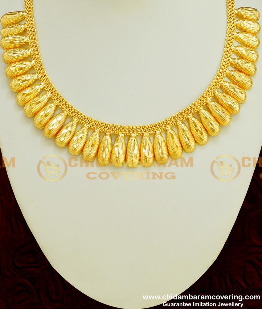 NLC365 - Micro Gold Plated Modern Kerala Plain Bridal Necklace