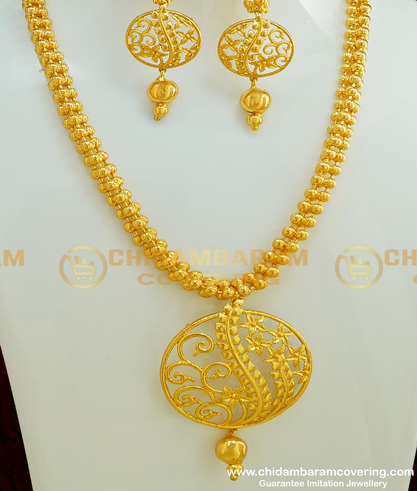 NLC372 - Stylish Gold Plated Modern Party Wear Necklace with Long Earring Guarantee Jewellery