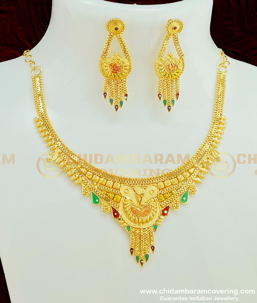 NLC380 - New Enamel Forming 2 Gram Gold Plated Necklace Design with Earring Combo Set Online