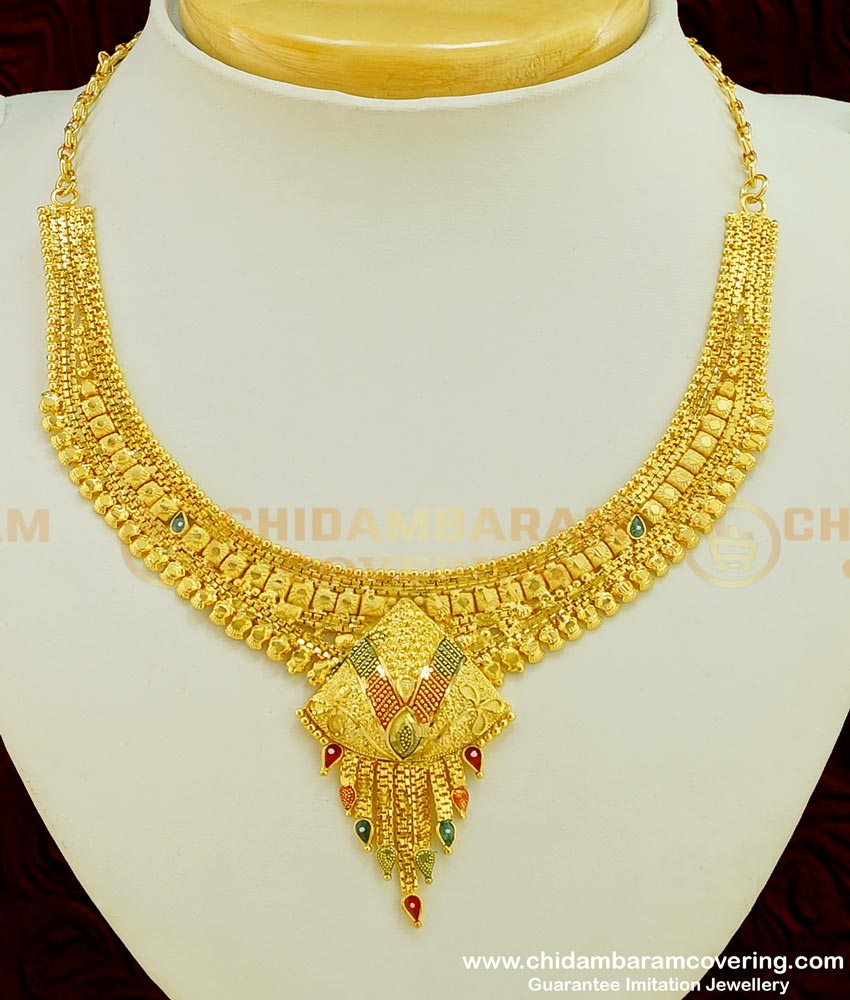 NLC386 - Wedding Were Gold Necklace Design with Earring Gold Forming Necklace Set Collection at Lowest Price Online