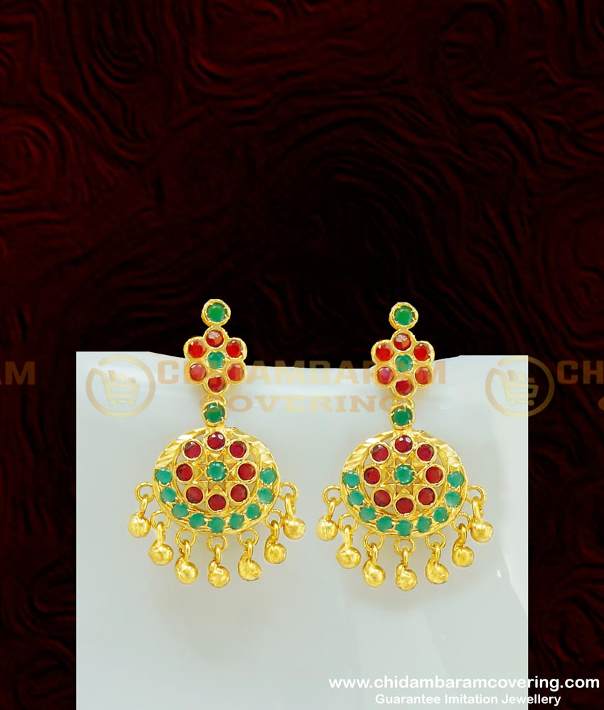 NLC408 - South Indian Wedding Jewellery Multi Stone Attigai Necklace with Earring Set Online