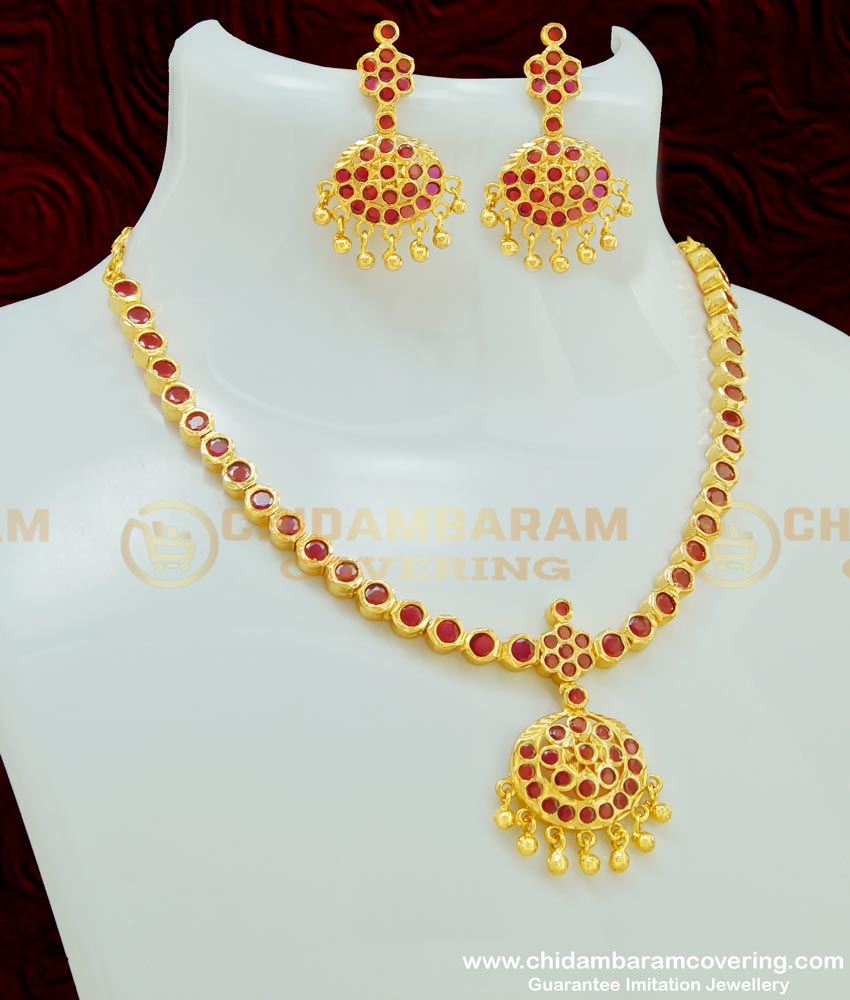 NLC409 - Beautiful First Quality Full Ruby Stone Attigai With Earring Necklace Set Micro Plated Jewellery