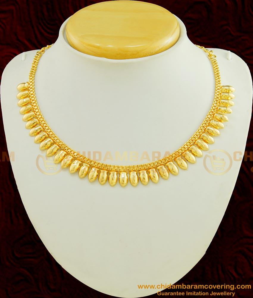 NLC413 - Kerala Light Weight Daily Wear Shiny Flower Petal Design Necklace