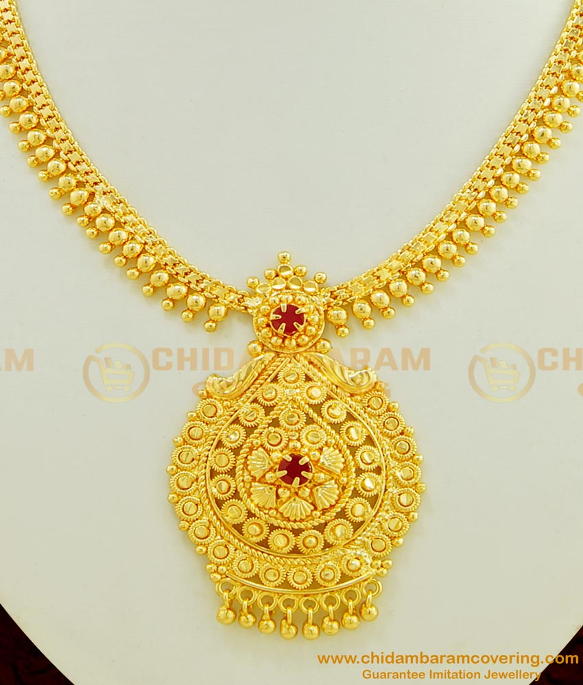 NLC414 - One Gram Gold Plated Semi Precious First Quality Ruby Stone Gold Beads Necklace