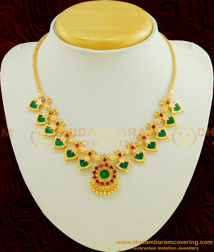 NLC419 - Kerala Wedding Jewellery Gold Design Beautiful 12 Green Palakka Mala Necklace