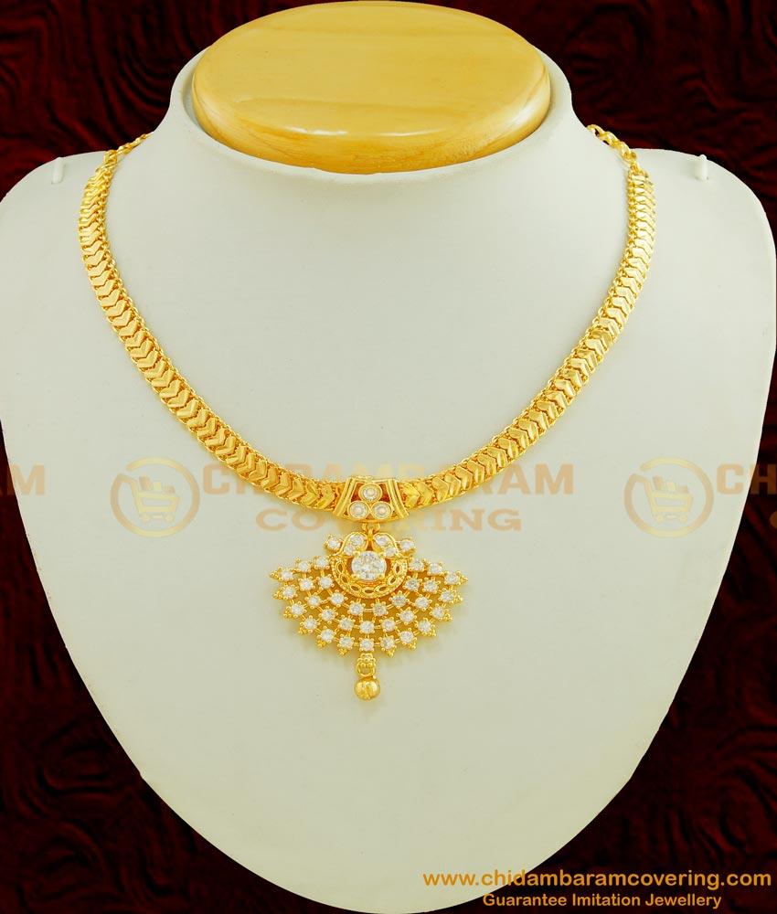 NLC428 - Latest Model Ad White Stone Dollar Attigai Necklace Handmade South Indian Imitation Jewellery