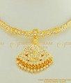 NLC430 - Latest Design Impon Full White Stone Real Gold Design Attigai Necklace for Wedding