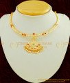 NLC431 - New Design First Quality Impon White And Ruby Stone Real Gold Design Attigai Necklace buy Online