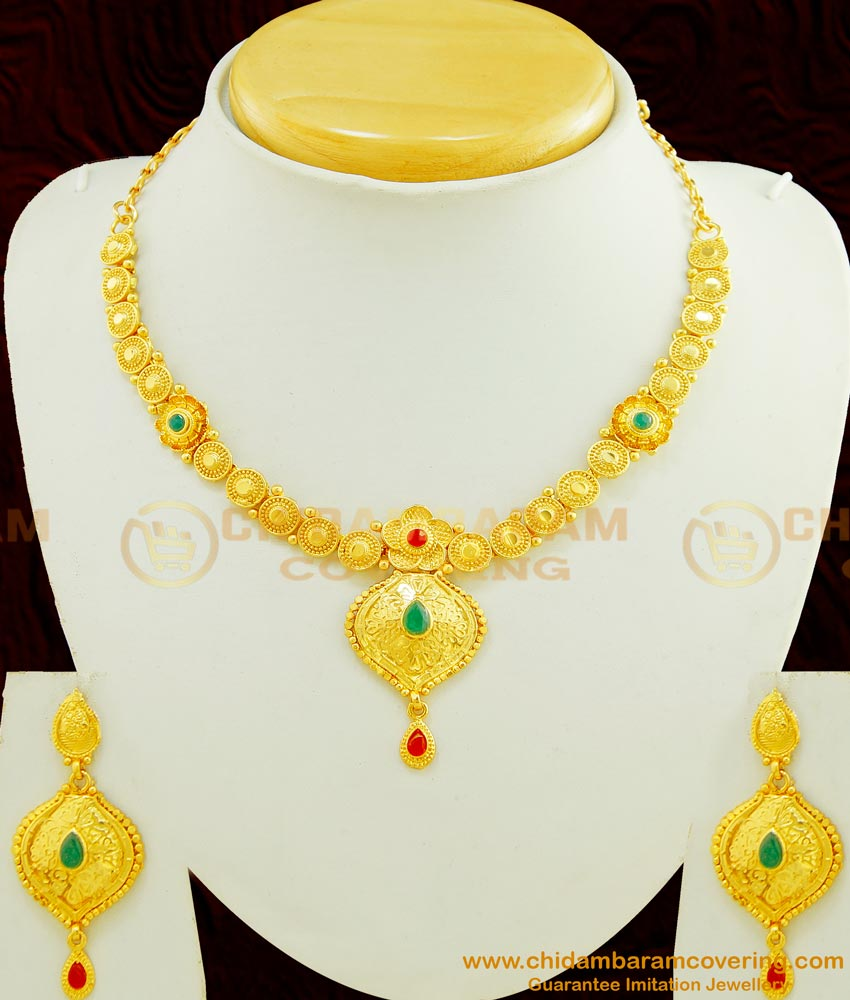 NLC433 - Modern Indian Fashion Gold Plated Forming Necklace With Earring Imitation Jewellery